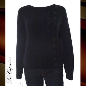 LES COPAINS Navy Brown Leather Detail Wool Sweater